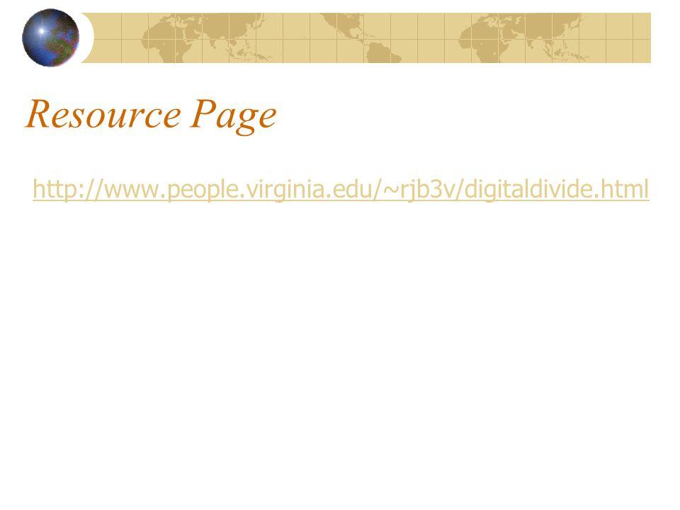 Resource Page http://www.people.virginia.edu/~rjb3v/digitaldivide.html
