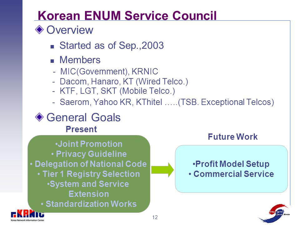 12 Korean ENUM Service Council Overview Started as of Sep.,2003 Members - MIC(Government), KRNIC - Dacom, Hanaro, KT (Wired Telco.) - KTF, LGT, SKT (M