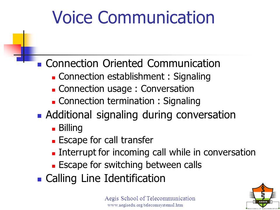 Aegis School of Telecommunication www.aegisedu.org/telecomsystemsI.htm Voice Communication Connection Oriented Communication Connection establishment