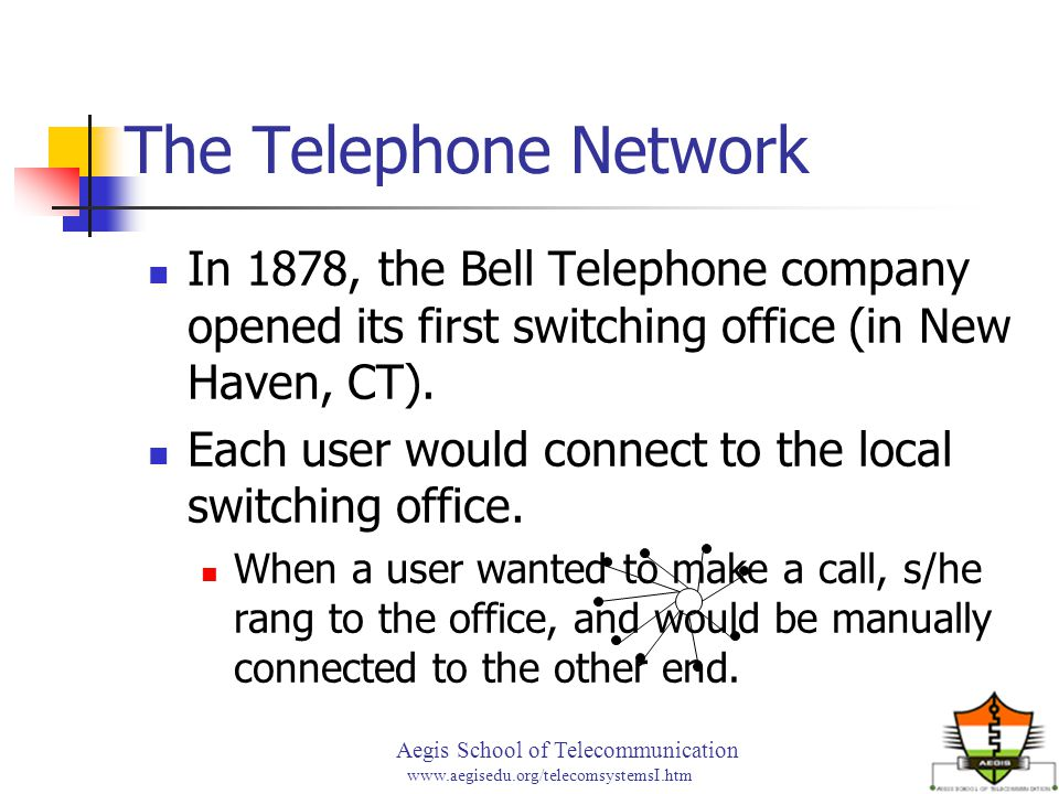 Aegis School of Telecommunication www.aegisedu.org/telecomsystemsI.htm The Telephone Network In 1878, the Bell Telephone company opened its first swit