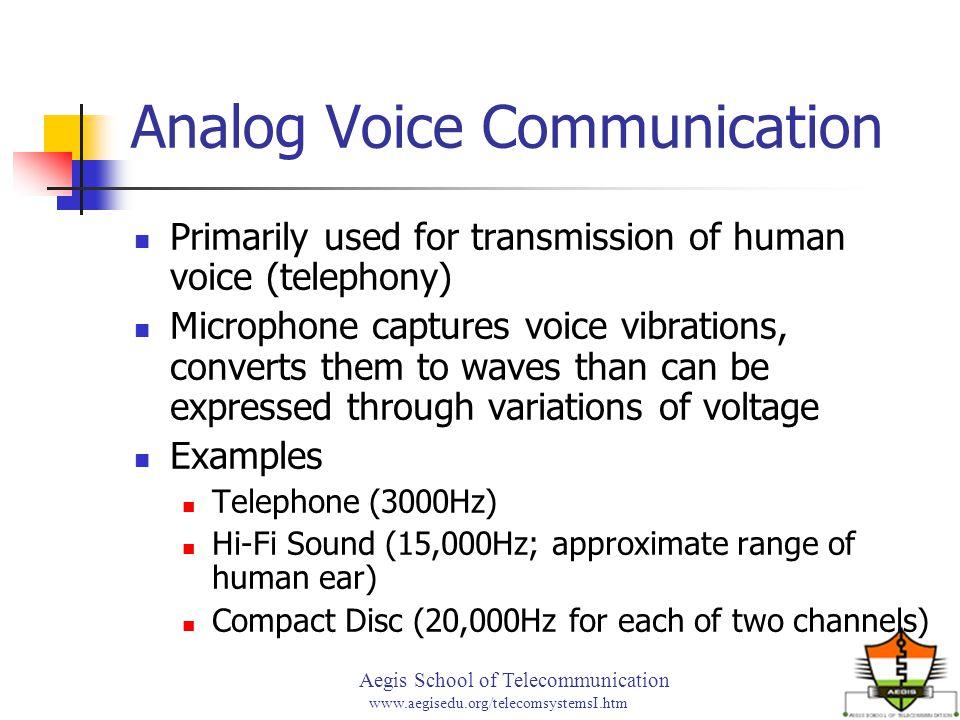 Aegis School of Telecommunication www.aegisedu.org/telecomsystemsI.htm Analog Voice Communication Primarily used for transmission of human voice (tele