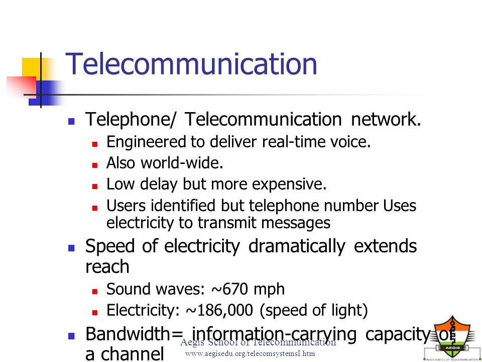 Aegis School of Telecommunication www.aegisedu.org/telecomsystemsI.htm Telecommunication Telephone/ Telecommunication network. Engineered to deliver r