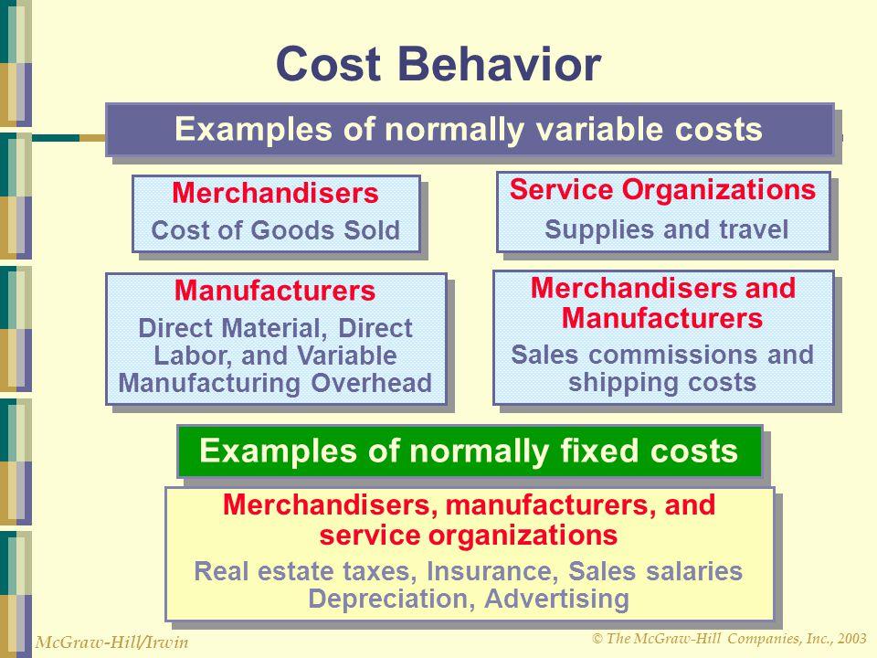 © The McGraw-Hill Companies, Inc., 2003 McGraw-Hill/Irwin Cost Behavior Merchandisers Cost of Goods Sold Merchandisers Cost of Goods Sold Manufacturer