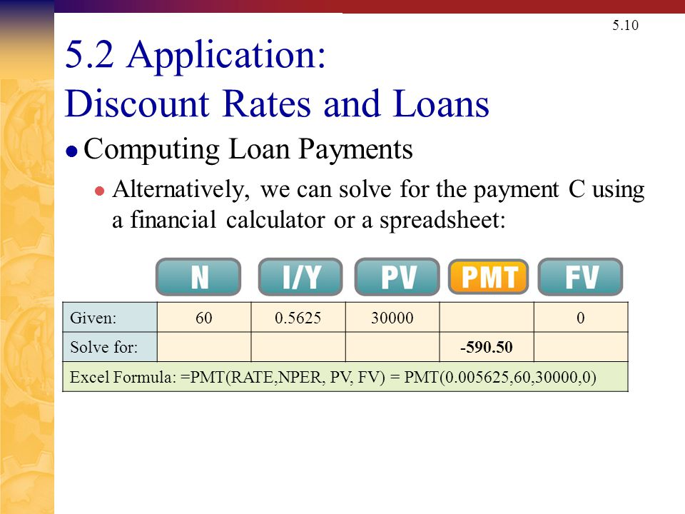 5.10 5.2 Application: Discount Rates and Loans Computing Loan Payments Alternatively, we can solve for the payment C using a financial calculator or a
