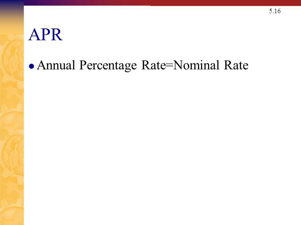 5.16 APR Annual Percentage Rate=Nominal Rate