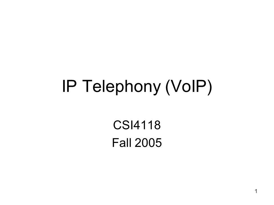 1 IP Telephony (VoIP) CSI4118 Fall 2005