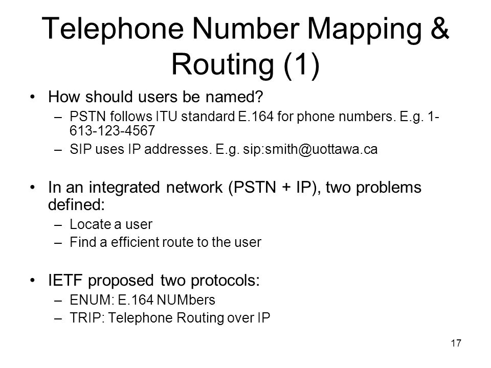 17 Telephone Number Mapping & Routing (1) How should users be named.