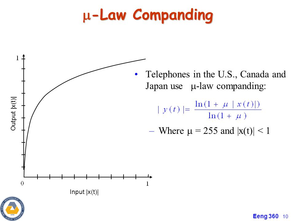 Eeng 360 10 -Law Companding -Law Companding Telephones in the U.S., Canada and Japan use -law companding: –Where = 255 and |x(t)| < 1 Input |x(t)| Out