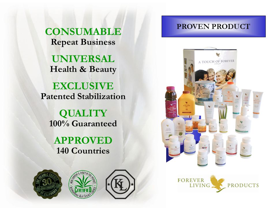 PROVEN PRODUCT ALOE VERA DRINKS Healthy Digestive System WEIGHT MANAGEMENT Lo-Carb – No Stimulants NUTRITION Exclusive Formulas PERSONAL CARE Head-to-Toe Aloe Formulas COLOR COSMETICS Aloe-Based with Marine Extracts