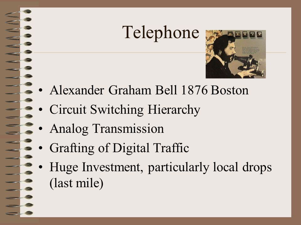 Telephone Alexander Graham Bell 1876 Boston Circuit Switching Hierarchy Analog Transmission Grafting of Digital Traffic Huge Investment, particularly