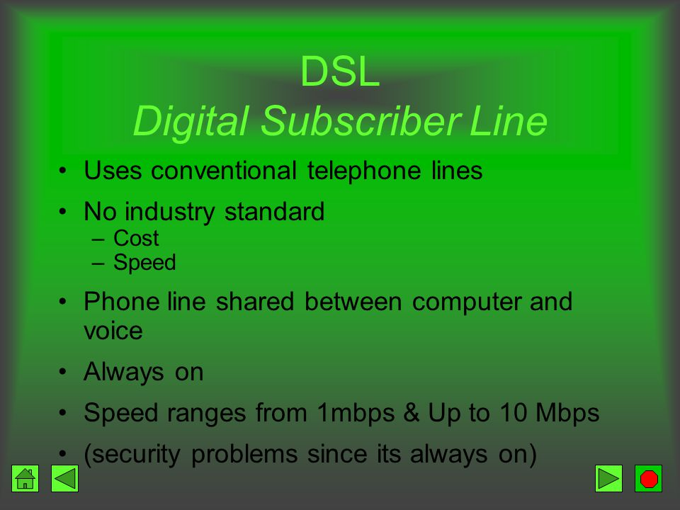 ISDN Integrated Services Digital Network Digital transmission Speeds of 128,000 bps Connect and talk at same time Need –Adapter –Upgraded phone service Initial costs high Ongoing monthly fees may be high Not available in all areas
