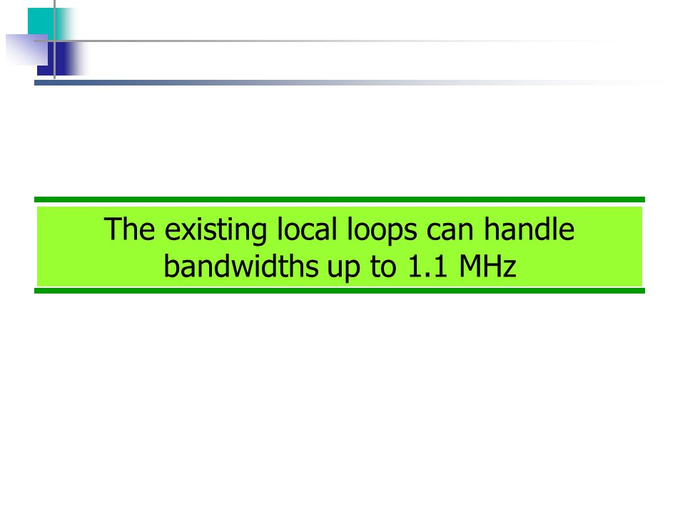 The existing local loops can handle bandwidths up to 1.1 MHz