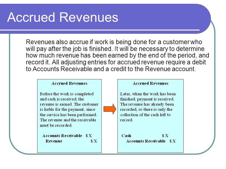 Accrued Revenues Revenues also accrue if work is being done for a customer who will pay after the job is finished. It will be necessary to determine h