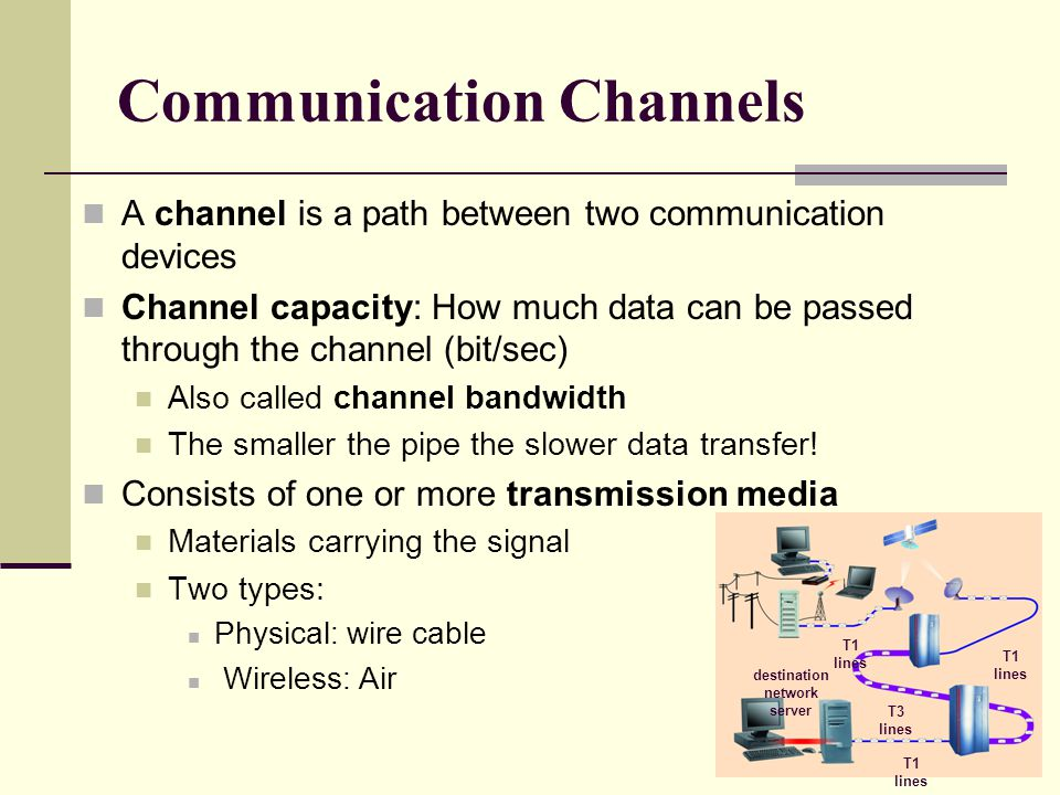 Communication Channels A channel is a path between two communication devices Channel capacity: How much data can be passed through the channel (bit/sec) Also called channel bandwidth The smaller the pipe the slower data transfer.