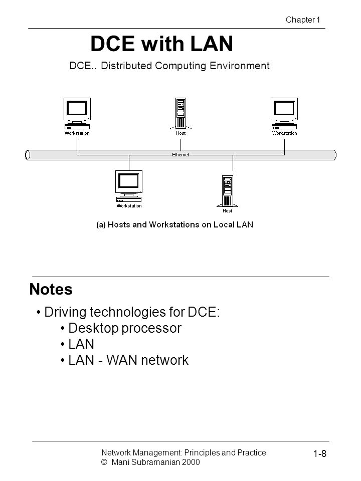 Notes DCE with LAN Chapter 1 DCE.. Distributed Computing Environment Driving technologies for DCE: Desktop processor LAN LAN - WAN network Network Man