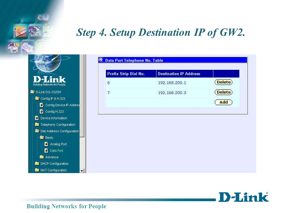 Building Networks for People Step 4. Setup Destination IP of GW2.