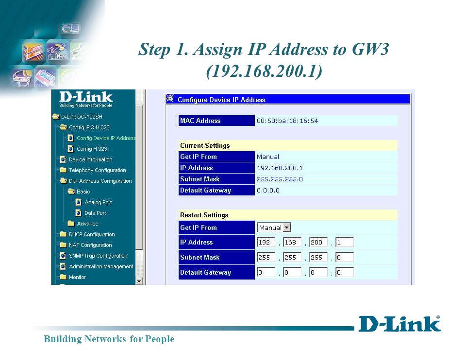 Building Networks for People Step 1. Assign IP Address to GW3 (192.168.200.1)