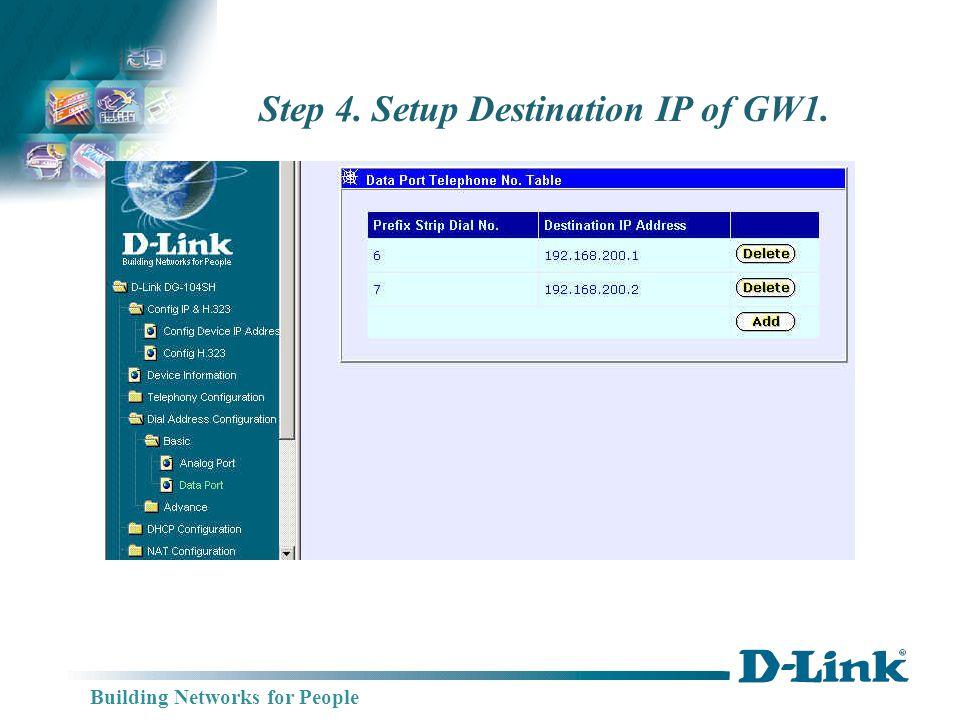 Building Networks for People DG-104SH IP:192.168.200.3 DG-102SH IP: 192.168.200.1 Switch Setting GW2 DG-102SH (H.323) WAN Port GW3 GW1 TEL: 201 TEL: 202 DG-102SH IP: 192.168.200.2 GW2 TEL: 101 TEL: 102 WAN Port TEL: 301 TEL: 302 TEL: 303 TEL: 304