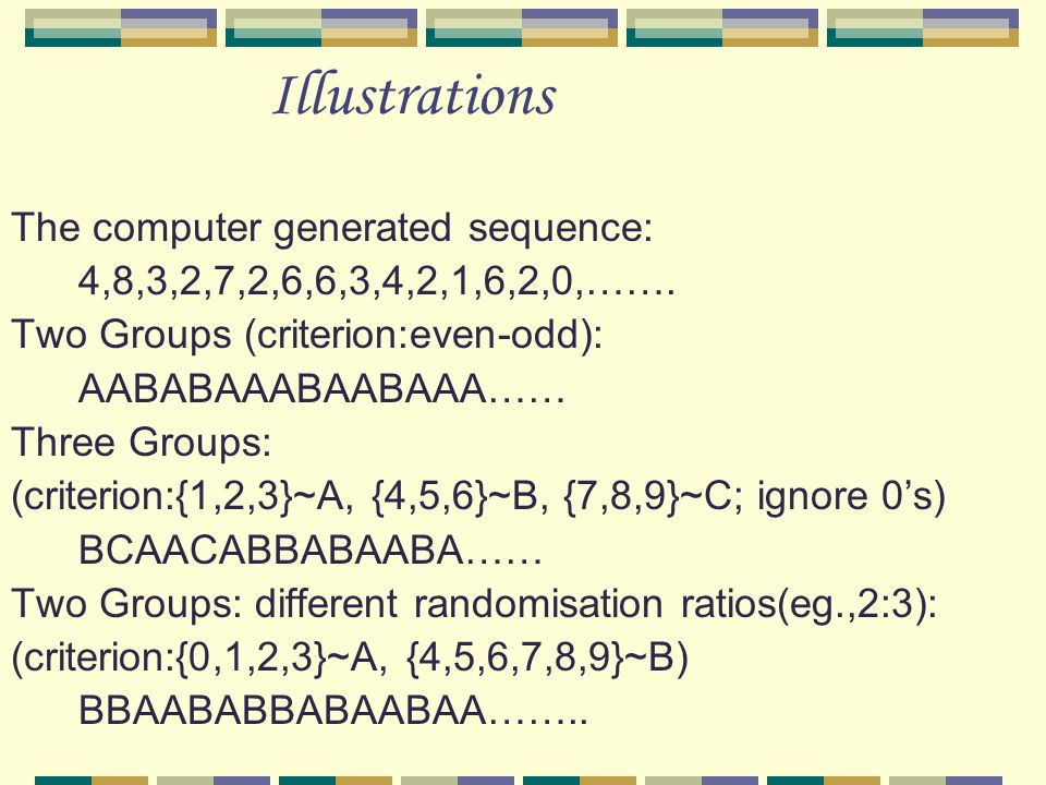 Illustrations The computer generated sequence: 4,8,3,2,7,2,6,6,3,4,2,1,6,2,0,…….