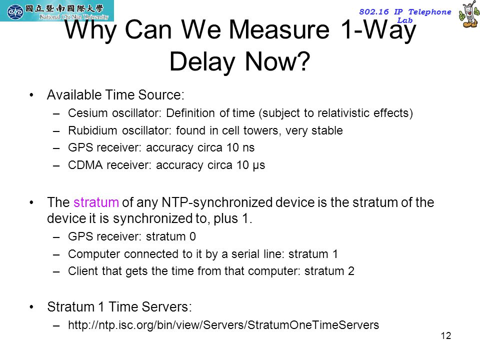802.16 IP Telephone Lab 12 Why Can We Measure 1-Way Delay Now? Available Time Source: –Cesium oscillator: Definition of time (subject to relativistic