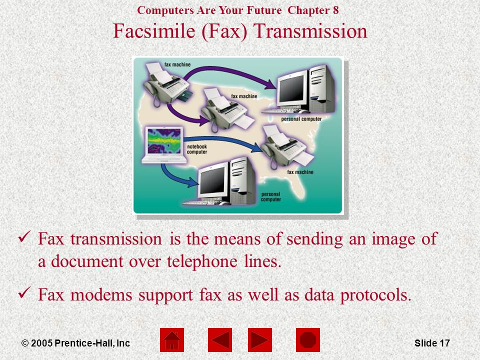 Computers Are Your Future Chapter 8 © 2005 Prentice-Hall, IncSlide 17 Facsimile (Fax) Transmission Fax transmission is the means of sending an image of a document over telephone lines.