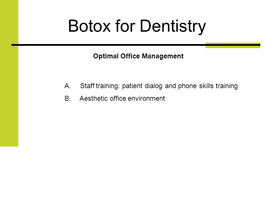 Botox for Dentistry Optimal Office Management A.