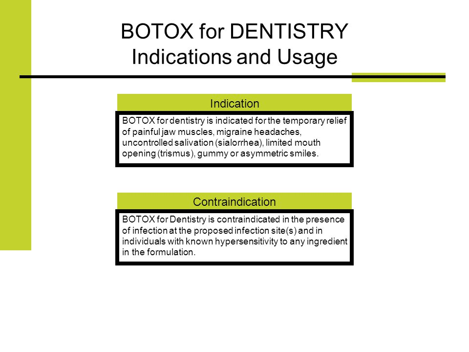 BOTOX for DENTISTRY Indications and Usage Indication BOTOX for dentistry is indicated for the temporary relief of painful jaw muscles, migraine headaches, uncontrolled salivation (sialorrhea), limited mouth opening (trismus), gummy or asymmetric smiles.