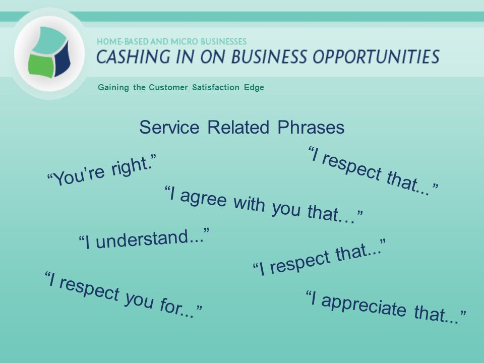 Service Related Phrases Gaining the Customer Satisfaction Edge Youre right. I agree with you that… I respect that... I understand... I respect that...