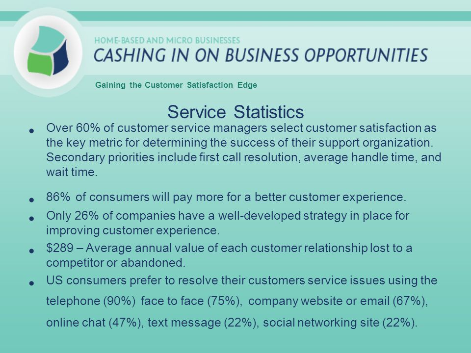 Service Statistics Over 60% of customer service managers select customer satisfaction as the key metric for determining the success of their support o