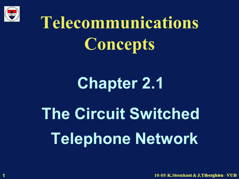 J.Tiberghien - VUB10-05-K.Steenhaut & J.Tiberghien - VUB 1 Telecommunications Concepts Chapter 2.1 The Circuit Switched Telephone Network