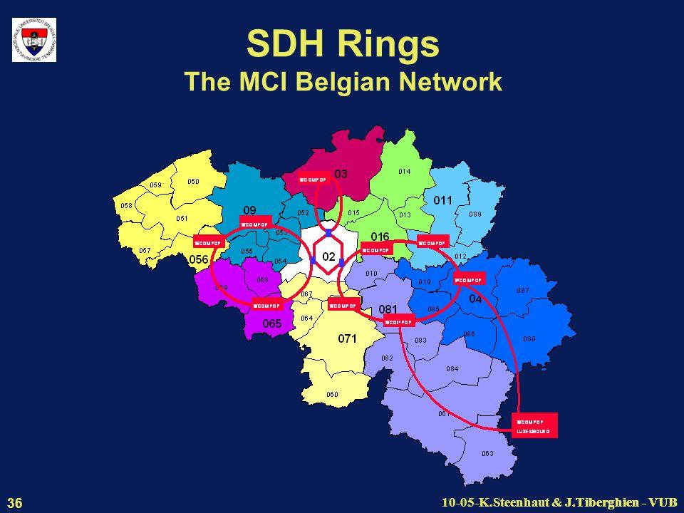 J.Tiberghien - VUB10-05-K.Steenhaut & J.Tiberghien - VUB 36 SDH Rings The MCI Belgian Network