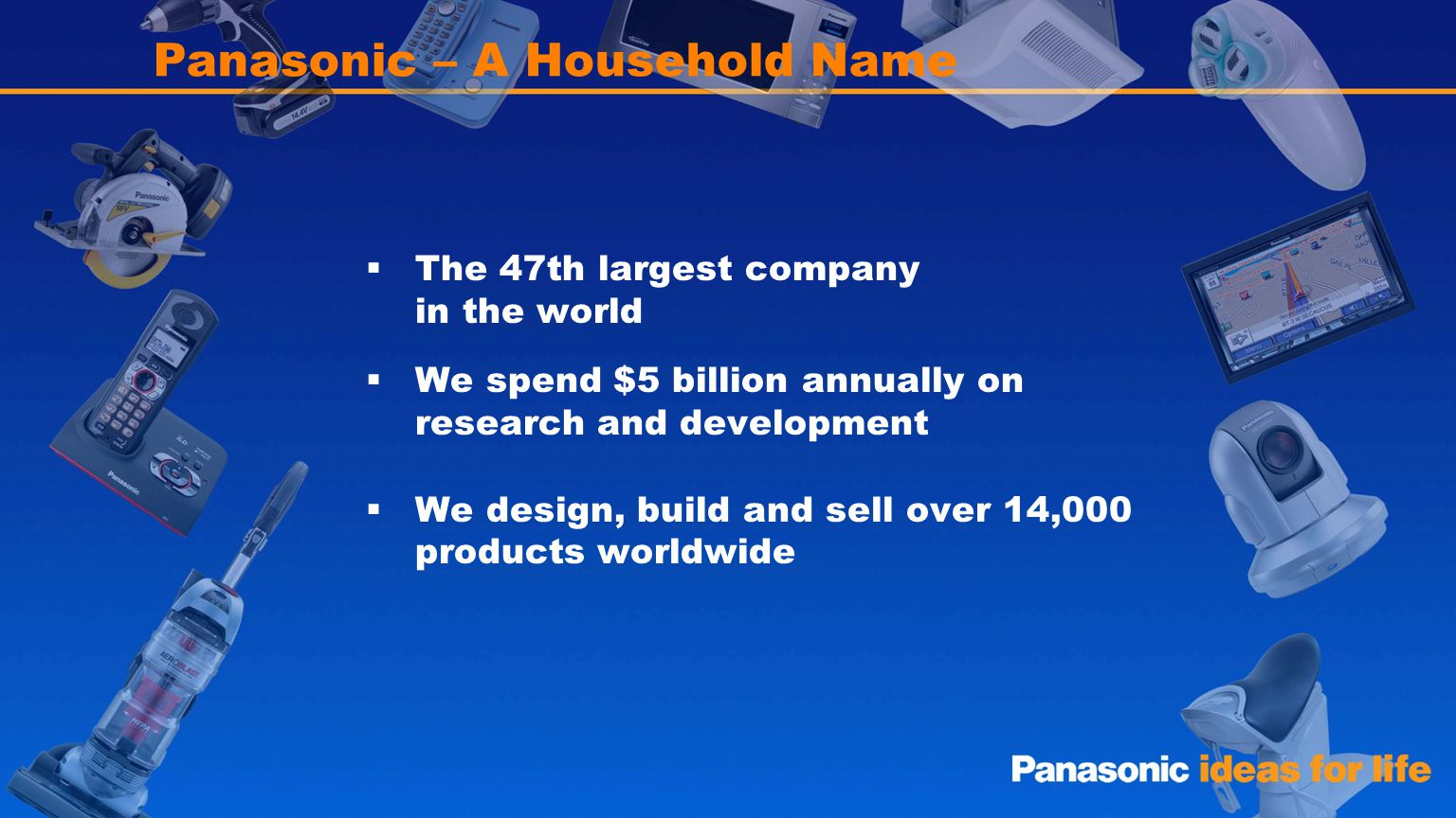 2 Panasonic – A Household Name The 47th largest company in the world We spend $5 billion annually on research and development We design, build and sel