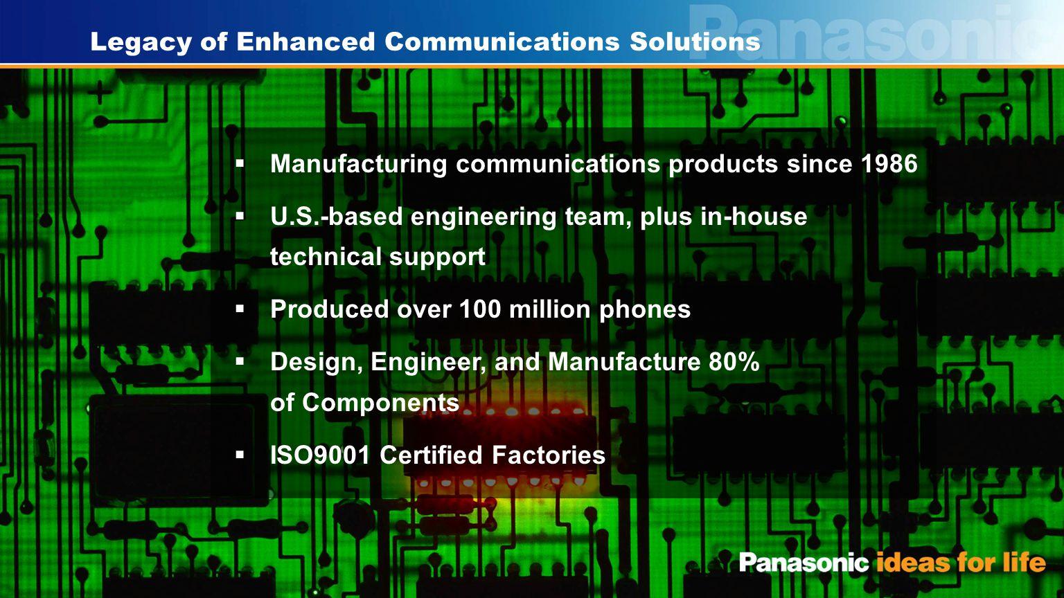 17 Panasonic PBX Portfolio – a Winning Strategy Model Name Small Medium Large TDA100/200 TDA50 2009 - 2007 X7/S8 MPR Ver.