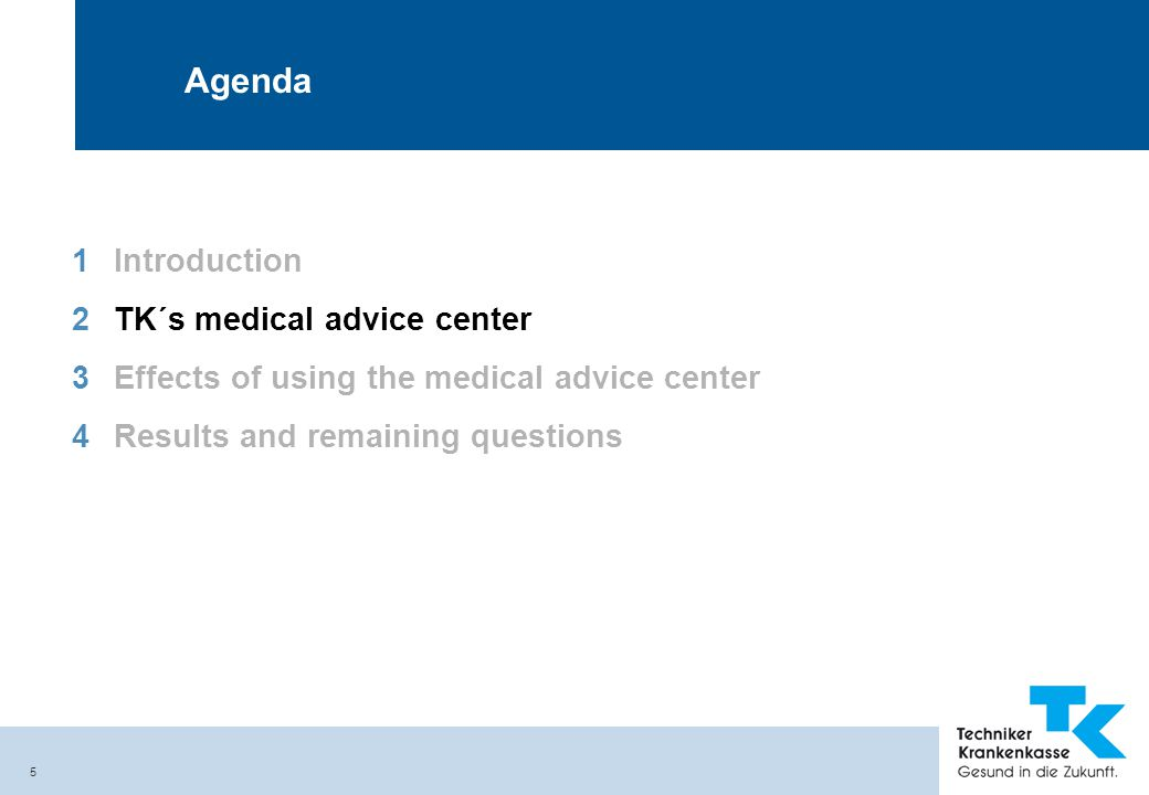 5 Agenda 1Introduction 2TK´s medical advice center 3Effects of using the medical advice center 4Results and remaining questions