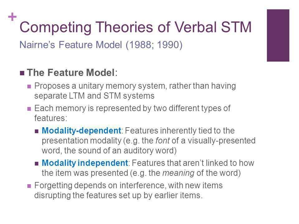 + Competing Theories of Verbal STM The Feature Model: Proposes a unitary memory system, rather than having separate LTM and STM systems Each memory is