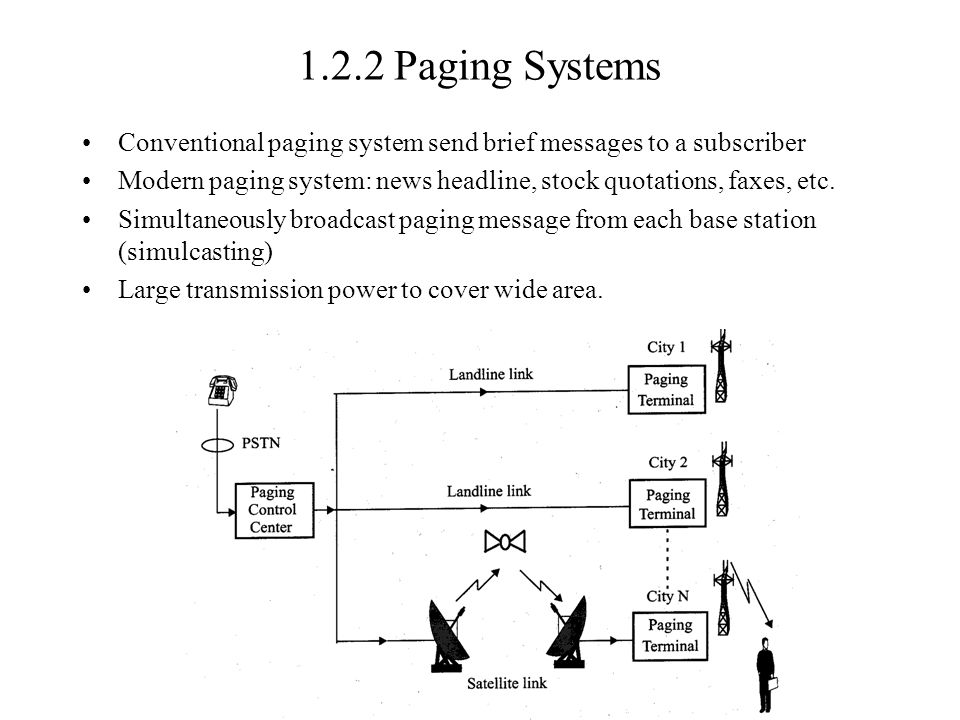 1.2.2 Paging Systems Conventional paging system send brief messages to a subscriber Modern paging system: news headline, stock quotations, faxes, etc.
