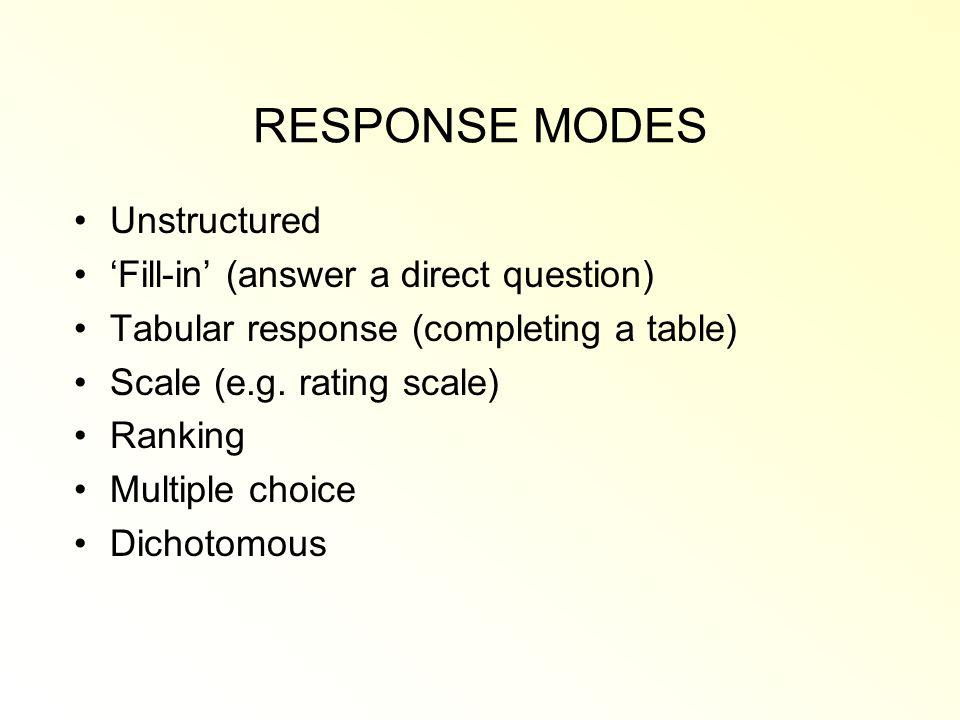 RESPONSE MODES Unstructured Fill-in (answer a direct question) Tabular response (completing a table) Scale (e.g.