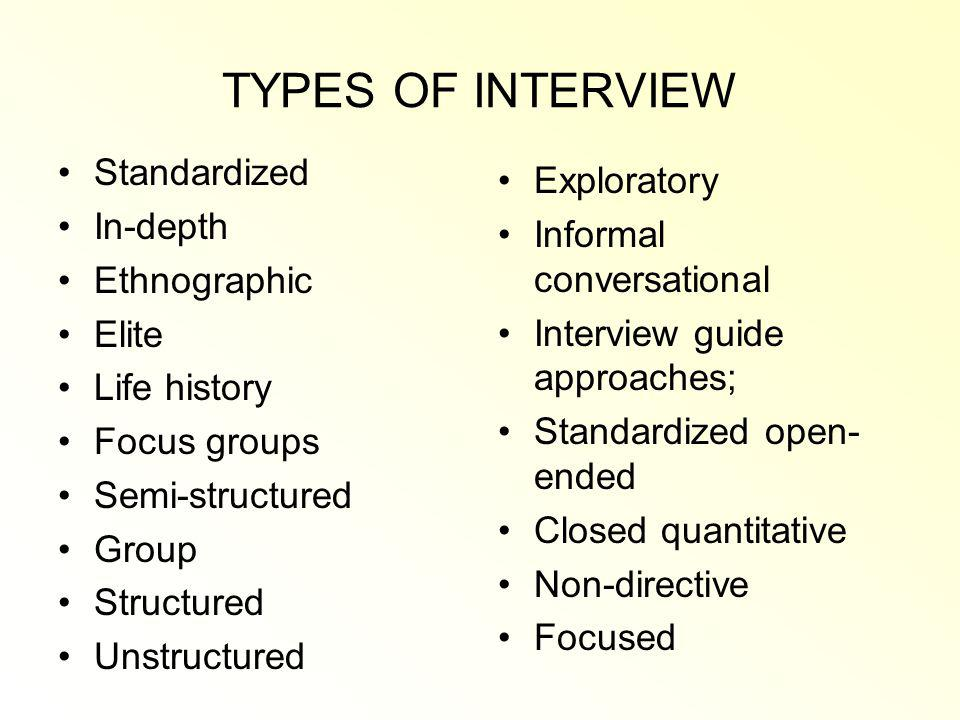 TYPES OF INTERVIEW Standardized In-depth Ethnographic Elite Life history Focus groups Semi-structured Group Structured Unstructured Exploratory Informal conversational Interview guide approaches; Standardized open- ended Closed quantitative Non-directive Focused