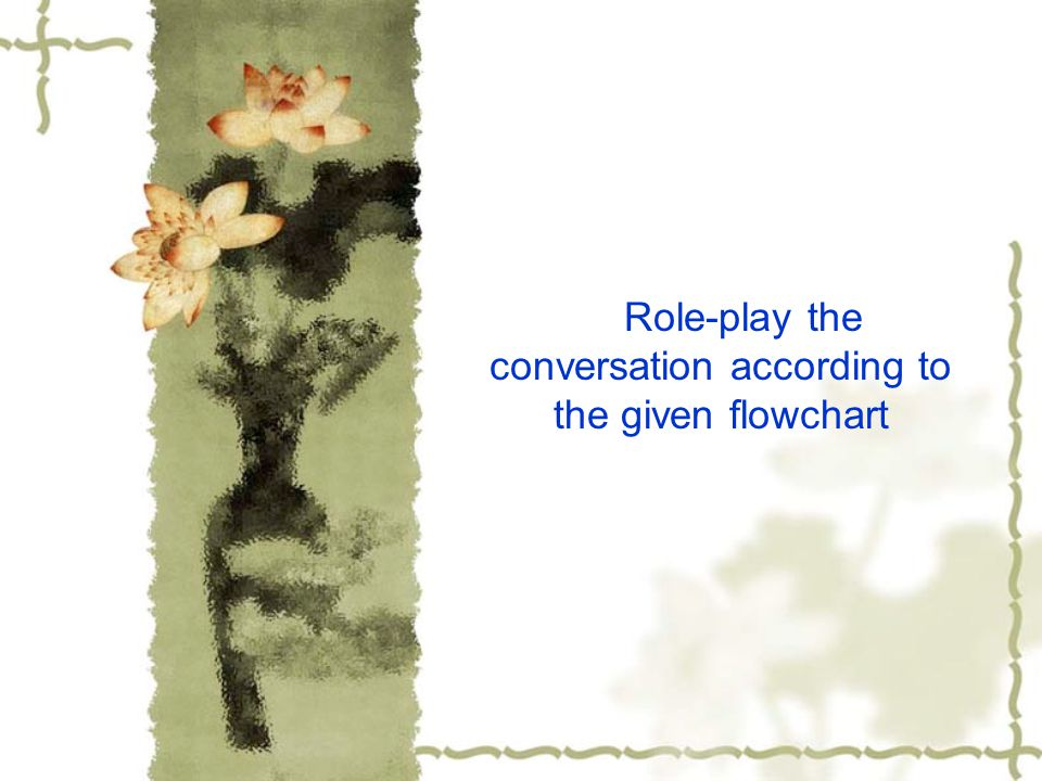 Role-play the conversation according to the given flowchart