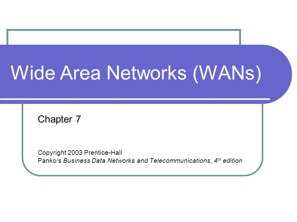 Wide Area Networks (WANs) Chapter 7 Copyright 2003 Prentice-Hall Pankos Business Data Networks and Telecommunications, 4 th edition