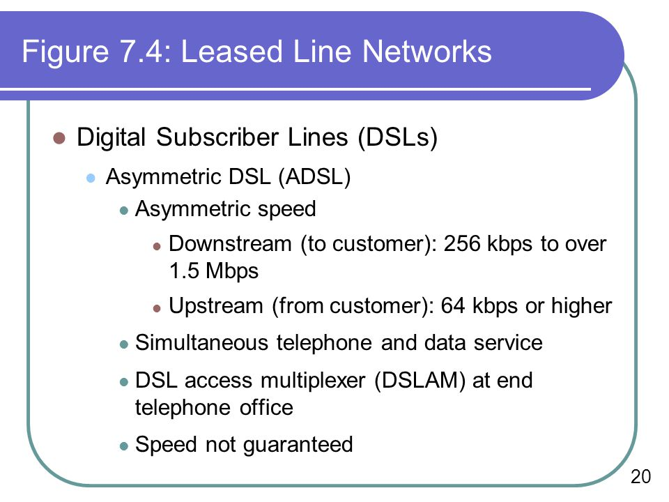 20 Figure 7.4: Leased Line Networks Digital Subscriber Lines (DSLs) Asymmetric DSL (ADSL) Asymmetric speed Downstream (to customer): 256 kbps to over 1.5 Mbps Upstream (from customer): 64 kbps or higher Simultaneous telephone and data service DSL access multiplexer (DSLAM) at end telephone office Speed not guaranteed