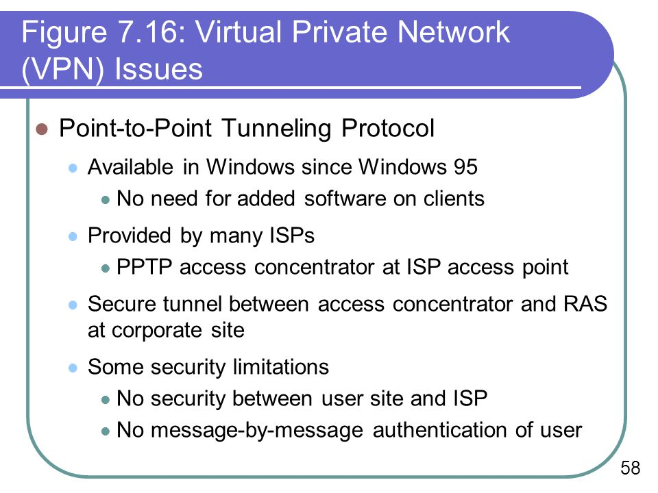 58 Figure 7.16: Virtual Private Network (VPN) Issues Point-to-Point Tunneling Protocol Available in Windows since Windows 95 No need for added software on clients Provided by many ISPs PPTP access concentrator at ISP access point Secure tunnel between access concentrator and RAS at corporate site Some security limitations No security between user site and ISP No message-by-message authentication of user