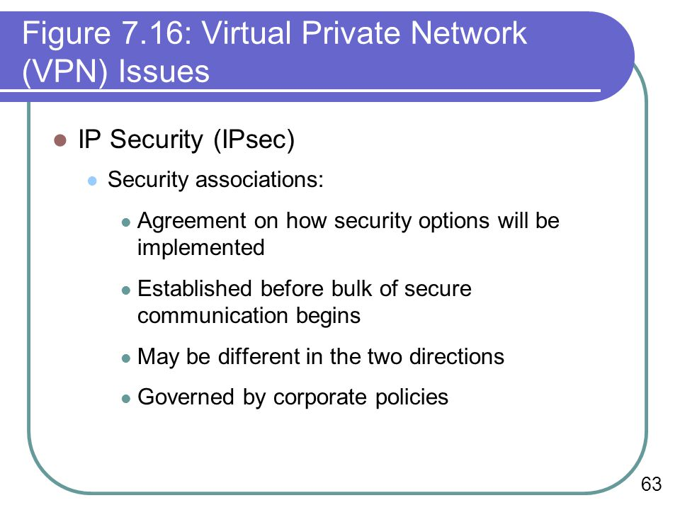 63 Figure 7.16: Virtual Private Network (VPN) Issues IP Security (IPsec) Security associations: Agreement on how security options will be implemented Established before bulk of secure communication begins May be different in the two directions Governed by corporate policies