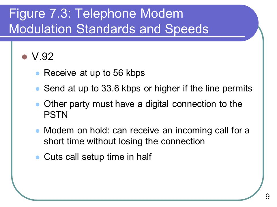9 Figure 7.3: Telephone Modem Modulation Standards and Speeds V.92 Receive at up to 56 kbps Send at up to 33.6 kbps or higher if the line permits Other party must have a digital connection to the PSTN Modem on hold: can receive an incoming call for a short time without losing the connection Cuts call setup time in half