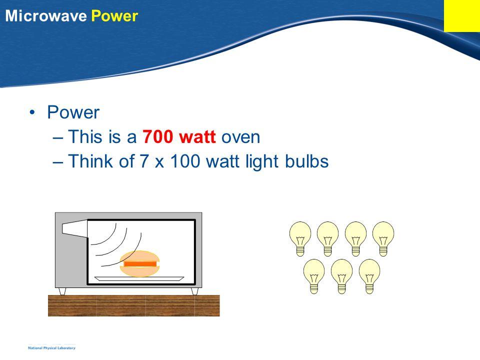 Microwave Power Power –This is a 700 watt oven –Think of 7 x 100 watt light bulbs
