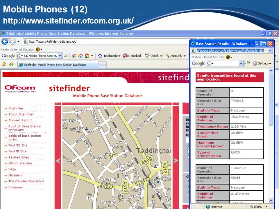 Mobile Phones (12) http://www.sitefinder.ofcom.org.uk /