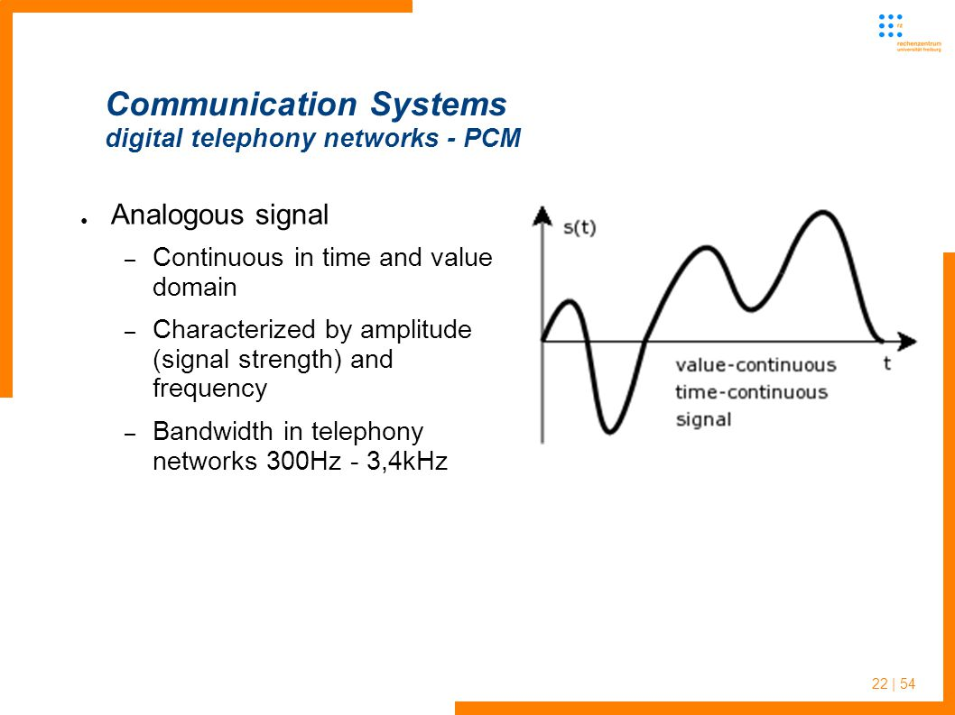 22 | 54 Communication Systems digital telephony networks - PCM Analogous signal – Continuous in time and value domain – Characterized by amplitude (signal strength) and frequency – Bandwidth in telephony networks 300Hz - 3,4kHz