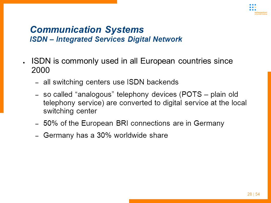 28 | 54 Communication Systems ISDN – Integrated Services Digital Network ISDN is commonly used in all European countries since 2000 – all switching ce