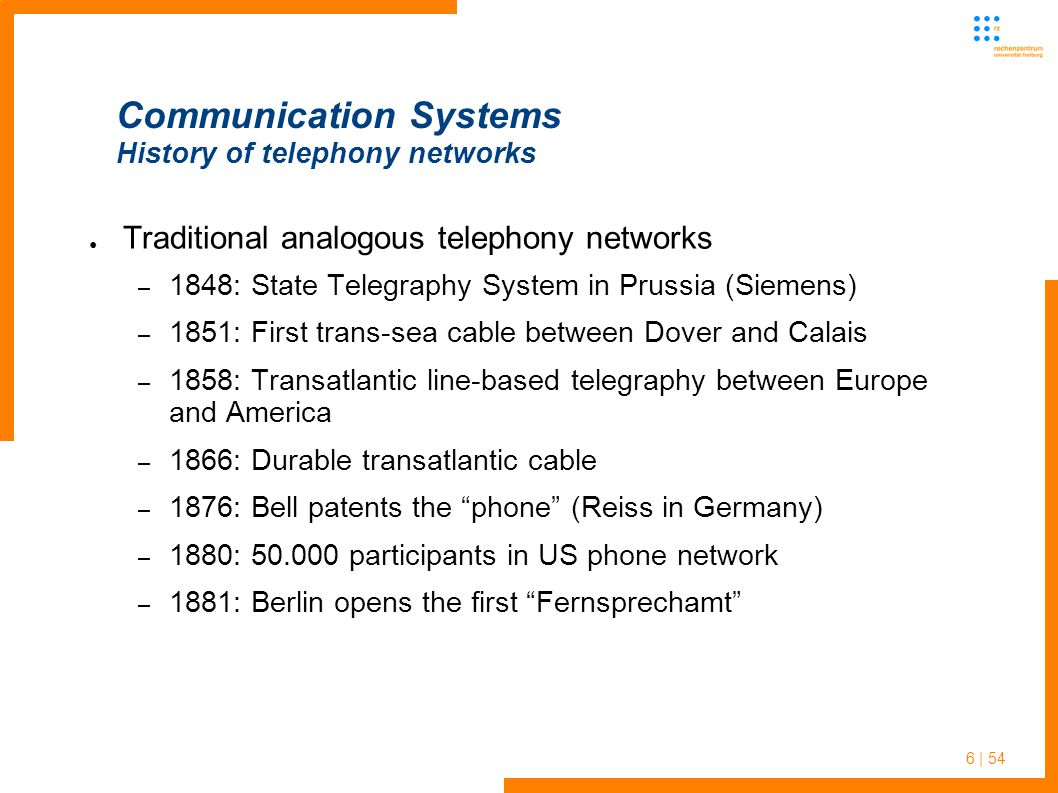 6 | 54 Communication Systems History of telephony networks Traditional analogous telephony networks – 1848: State Telegraphy System in Prussia (Siemens) – 1851: First trans-sea cable between Dover and Calais – 1858: Transatlantic line-based telegraphy between Europe and America – 1866: Durable transatlantic cable – 1876: Bell patents the phone (Reiss in Germany) – 1880: 50.000 participants in US phone network – 1881: Berlin opens the first Fernsprechamt