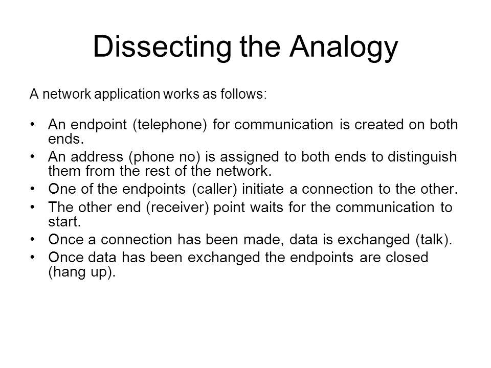 Dissecting the Analogy A network application works as follows: An endpoint (telephone) for communication is created on both ends. An address (phone no
